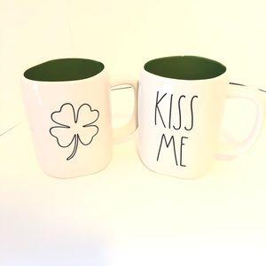 New Rae Dunn St Pattys day shamrock kiss me mugs